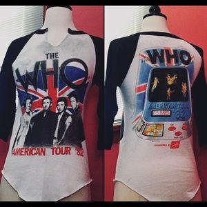 Tops - THE WHO AMERICAN TOUR 82 VINTAGE ROCK BASEBALL TEE